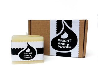 White Pure Beeswax Square Candle / Natural Candle/ Pillar Candle 7 oz/ Gift Wrapped/Perfect Gift