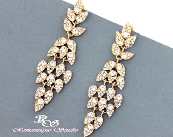 Gold wedding earrings crystal chandelier earrings rhinestone wedding chandelier earrings vintage style wedding earrings 1184