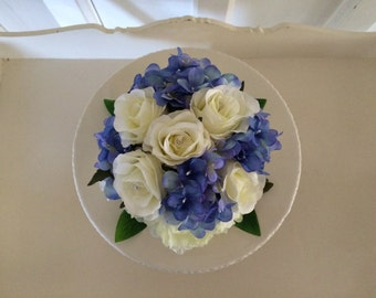Vintage wedding cake topper, artificial flowers...ivory roses ivory peonies & blue hydrangeas and greenery and pearl pins