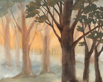 Forest Morning - Original Watercolor Painting