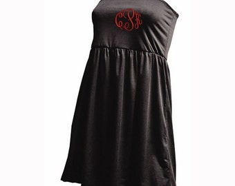 S/M Monogrammed Swimsuit Cover-Up - Black