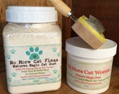 Cat, Kitten Lover's Natural Flea Control Treatment, Flea Powder, De-Wormer and Cat Grooming Brush.