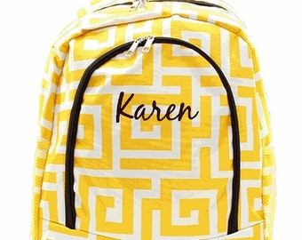 Personalized Backpack Monogrammed Bookbag Greek Key Yellow Brown Large Canvas Kids Tote School Bag Embroidered Monogram Name