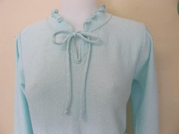 Kittenish Knitting : Knit pant suit aqua blue sweater set marbella knits