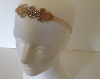 1920s Wedding Dress Headband, Gatsby Wedding Dress Headpiece, Headband, Soft Gold Headband 1920s Headband Grecian Headband