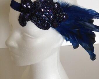 Blue Feather Headband for Blue 1920s Dress Gatsby Headpiece, Blue Beaded Headband