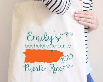 Puerto Rico Personalized Tote Bag // San Juan Bachelorette