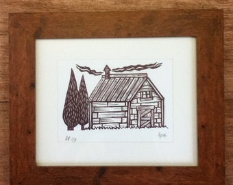 Cabin in the Forest. Original Linocut Print.