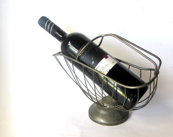 Wine bottle holder metal wine basket by underlyingsimplicity - Wire wine bottle carrier ...