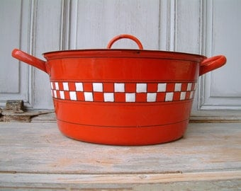 Vintage french enamel cooking pot / dutch oven. Red with white check Lustucru frieze. French country. Rustic farmhouse. French kitchen decor