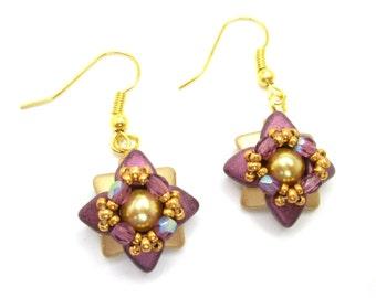 Purple amethyst and gold starflower earrings, flower jewelry, floral jewellery,
