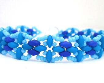 Blue neon surf beach bracelet, superduo jewelry, super duo jewellery, turquoise bracelet, beadwork bracelet, summer bracelet