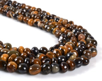 0761 Natural tiger iron Pebble Chips loose gemstone beads 16""