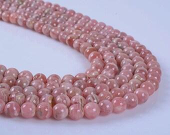 """0155 6mm Natural Pink Agentina rhodochrosite round loose gemstone beads 15.5"""""""