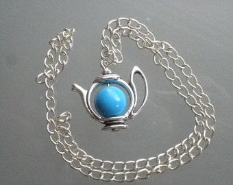 Necklace Silver teapot with blue bead/birthday/Christmas gift/novelty/charm