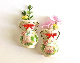 Set of 2 Small Vintage Flower Wall Vases