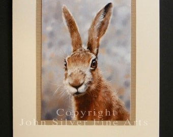 Wild Hare Portrait Hand Made Greetings Card. From an Original Painting by Award Winning Artist JOHN SILVER. GCHA005