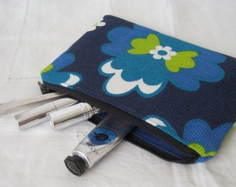 Handmade Recycled Flower Power Blues Pouch