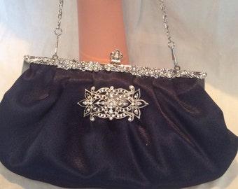 Navy Satin Clutch, Evening Bag, Bridal Purse, Bridal Clutch Bag, Ivory Clutch