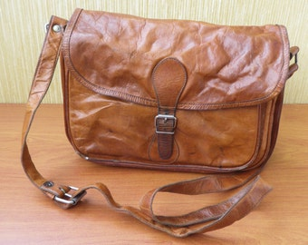 Vintage Brown Leather Distressed Bag Purse With Shoulder Strap