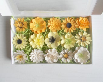 Yellow And Cream Paper Flowers   Seeded Paper Favors   Unique Gift Set Made  With Plantable