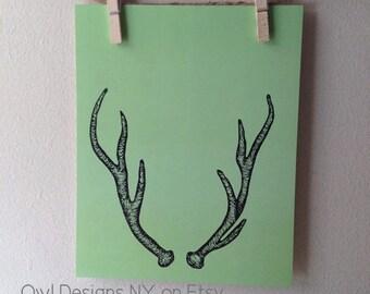 "Deer Antler Print - Woodland Green Deer antler print - India Ink Hand Drawn Antler Print - 8"" x 10"""