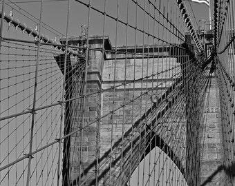 Brooklyn Bridge American Flag, New York Photography, New York Print, New York Art, New York Decor, Bridge Photography, Bridge Art