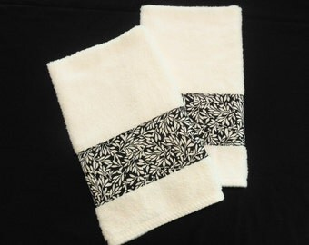 White Black Hand Towels Decorative Hand Towels Bathroom Kitchen Set of 2