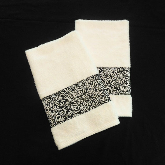 white black hand towels decorative hand towels bathroom kitchen set of 2 - Decorative Hand Towels