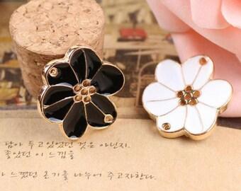 10 pcs of antique gold flower diamond  drop oil double hole  charm pendants 22x23mm
