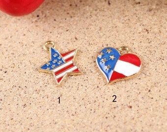 10 pcs of antique gold national flag charm pendants 17x16mm