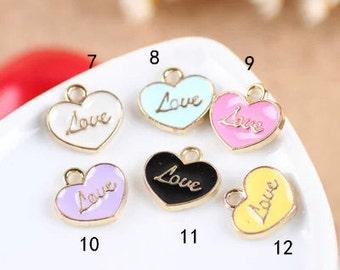 "10 pcs of antique gold ""love"" sign badge charm pendants 14x16mm"