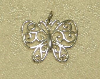 Pretty vintage sterling silver open lacy butterfly pendant charm