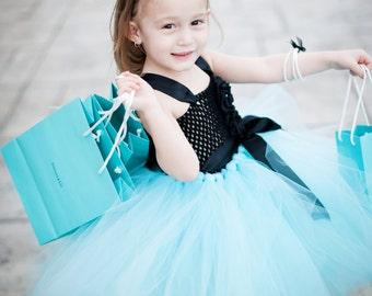 The Glamorous Audrey Hepburn Black & Aqua Tutu Dress