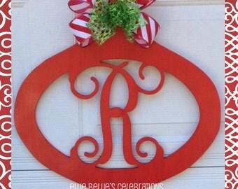 Christmas Monogram Door Hanger Sign Ornament