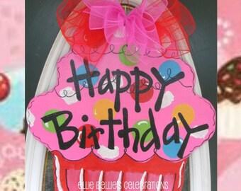 Birthday Cupcake Door Hanger Sign