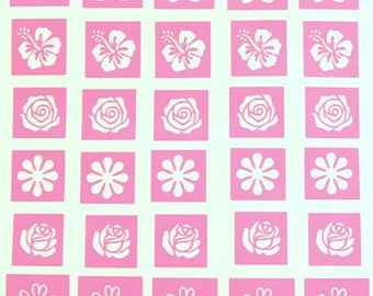 Flower Stencils, Etching Stencils, Vinyl, Etching, Stencils, Vinyl Stencils for Glass, Etching Stencils,  Fused Glass Supplies
