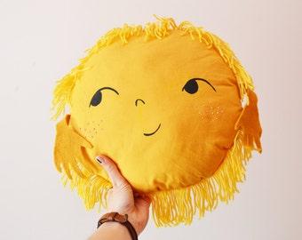 SUN yellow  Pillow . cotton and felt. 100% handmade.