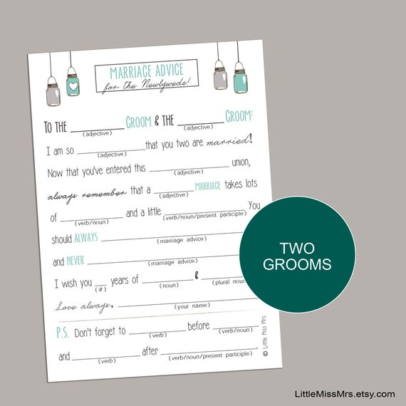 printable Mad-lib Wedding Advice Cards for Same-sex marriage-Two Grooms (Mint + Mason Jars)