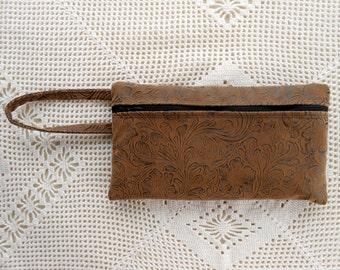 Pencil case, faux brown leather w/ handle, handmade, floral motif, wrist purse, cosmetic case, large wallet, art supply case, bank bag