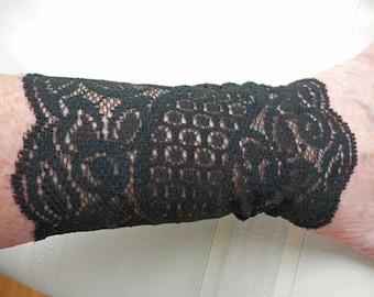 Gauntlet Cuffs Stretch Lace - ONE PAIR - size Medium - black floral netting wrist wear, 5 inch long, gauntlet - #137 trending wrist art