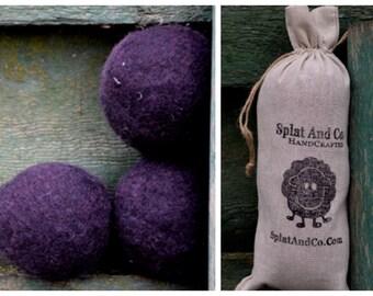 XL Felted Dryer Balls - Large Canadian Wool - Black Dryer Balls
