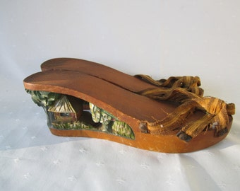 Wood Handcarved Tiki Sandals Rockabilly Wedge Heels Vintage Wood Sandals
