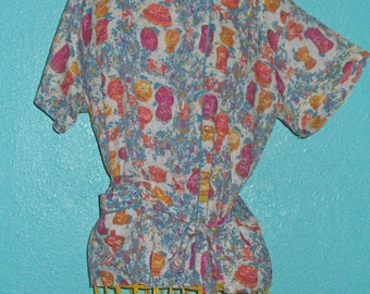 "60s Vintage ""Holliday"" Printed Manmade Silk Ladies Asian-Style Blouse — Size XL/16-18"