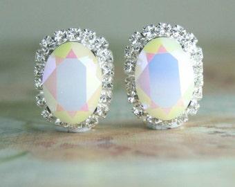 Bridal clip on earrings,bridal earrings,Swarovski earrings,clip on earrings,clip earrings for wedding,swarovski white opal AB,oval earrings