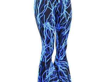 Neon Blue Lightning Print UV Glow Bell Bottom Flares Leggings with High Waist & Stretchy Spandex Fit  151092