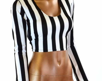 Long Sleeve Referee Black & White Stripe Print Long Sleeve Crop Top Jail Bird Inmate 151211