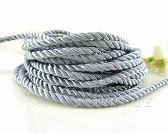 3 mm Gray Twisted Silk Rope, 1 Meter Rayon Satin Cord For Necklace or Bracelet