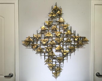 Mid Century Modern Nail Art Wall Sculpture In The Manner of William Bowie and Curtis Jere