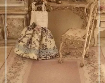 1:12 french rug aubusson 20x13.5cm aged fabric and felt - miniature - dolls house - hand made - shabby chic